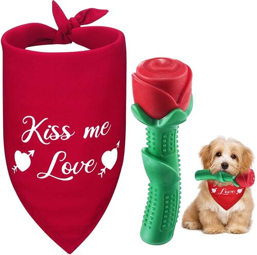 Weewooday 2 pieces Valentine's Day Dog Bandana and Durable Rose Chew Toy Gift Set