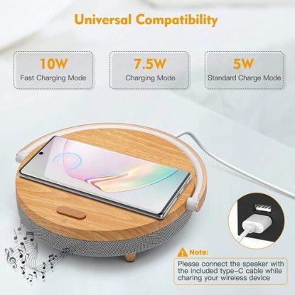 Wood Grain Bluetooth speaker with wireless charging, LED night light, Bluetooth 5.0
