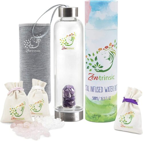 Zentrinsic Crystal Borosilicate Glass and Stainless Steel Water Bottle