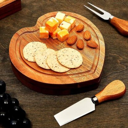 Juvale Heart Shaped Swivel Cheese Board Set with Knives for Valentines