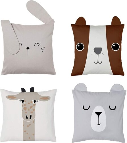 RainMeadow 4pcs 100% Cotton Animal-shaped with Cutest Ears Pillow Covers for Kids Room Decor