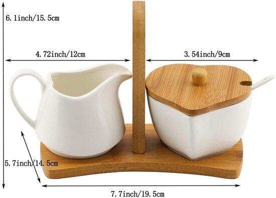 TIANGR Love shape design Sugar and Creamer Bowl Set