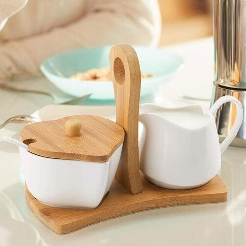 TIANGR White Ceramic Sugar and Creamer Bowl Coffee Serving Set