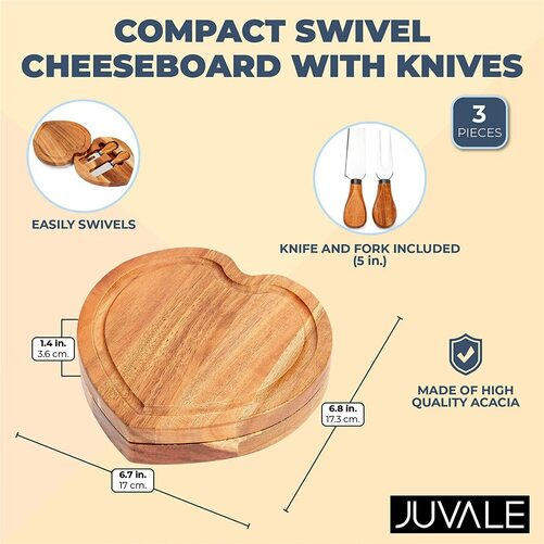 swivel cheese board platter set comes with a cheese knife