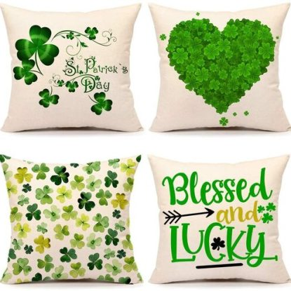 4TH Emotion Set of 4 St. Patrick's Day Decorative Throw Pillow Covers