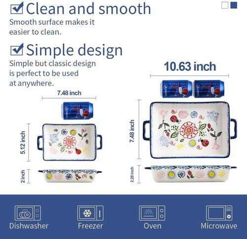 BFU Ceramic rectangular Baking Dishes Set of 2