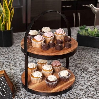 BirdRock 2-Tier Cupcake and Cake Stand with Adjustable Handle
