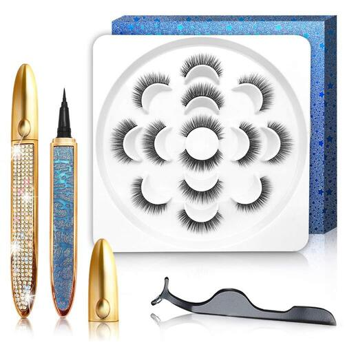 GXO BEAUTY 7 Pairs Waterproof Magic Eyeliner Reusable Eyelashes Kit
