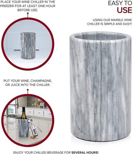 Modern Innovations Elegant Grey Marble Wine Bottle Cooler