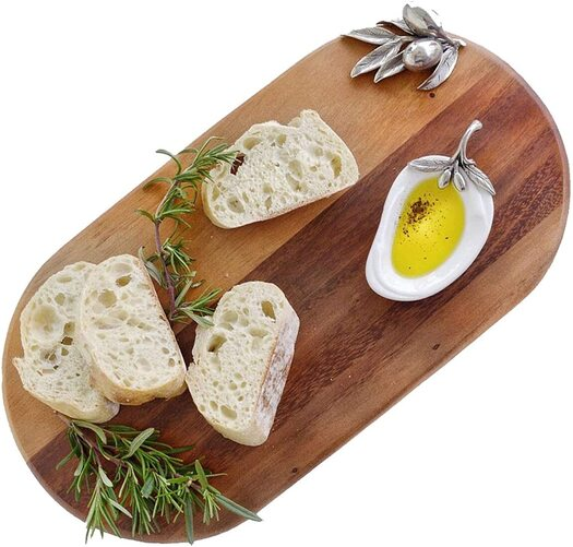 Vagabond House Luxury and Modern Pewter Acacia Wood Bar Cheese Board