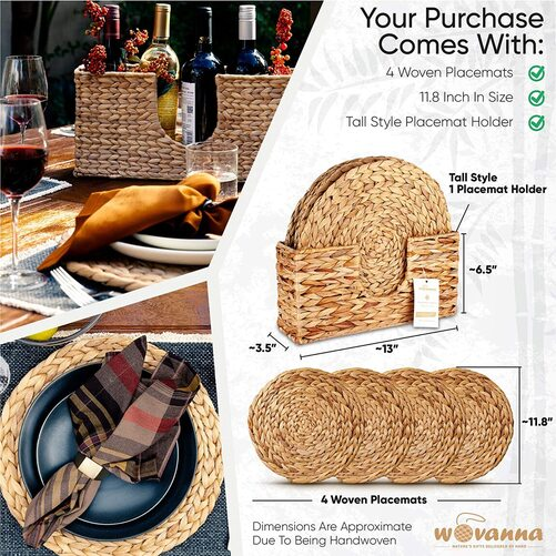 Wovanna 4pcs Handmade Woven Placemats with Holder