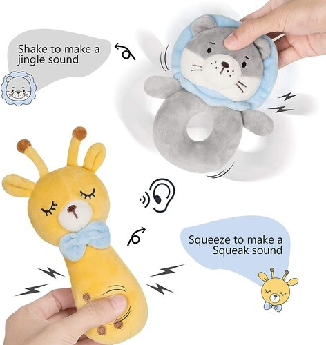 cute 4pcs baby plush rattle toys by tillyou