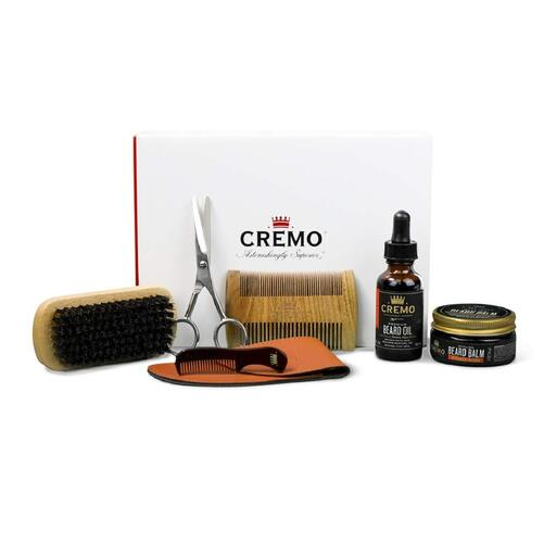 Cremo Barber Grade Beard Starter Set with Beard Oil and Balm, Brush and Comb and Shears for Men's