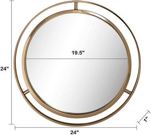 Glitzhome Decorative Round Gold Finish Metal Wall Mounted Mirror