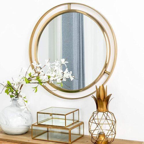 Glitzhome Decorative Round Gold Metal Wall Mirror