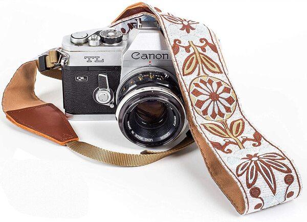 Art Tribute Bohemian Trim Camera Strap White Woven DSLR Camera Strap