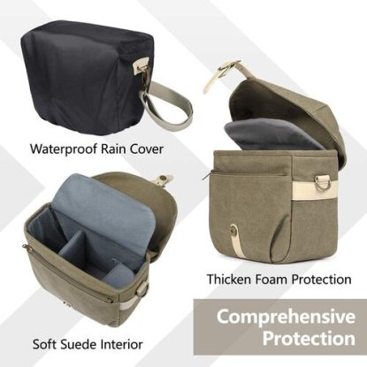 BAGSMART Canvas Camera Bag with Waterproof Protection