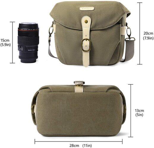 BAGSMART Canvas Camera Shoulder Bag for Camera and Gear