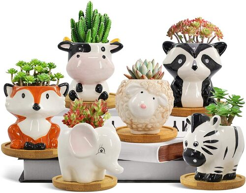 MONTENMIN 6 pcs Ceramic Animal Succulents Pots with Bamboo Tray