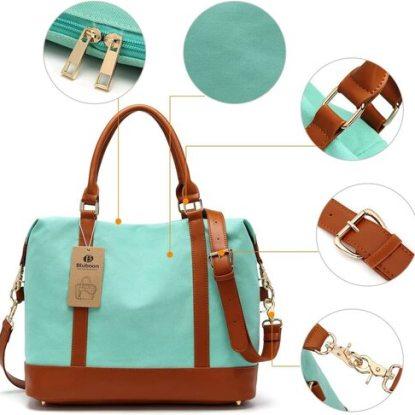 Bluboon Women Canvas Weekender Bag with Trolley Handle