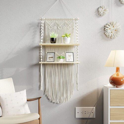 Boxanho Boho Macrame Wall Hanging Shelf for Home Decoration