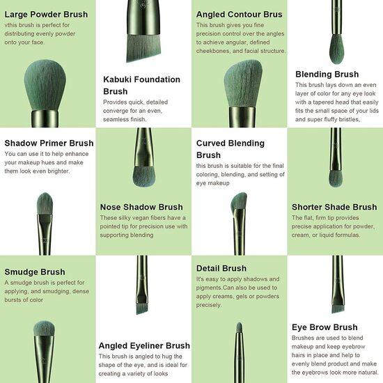 EIGSHOW 12 pieces Vegan Makeup Brushes Set