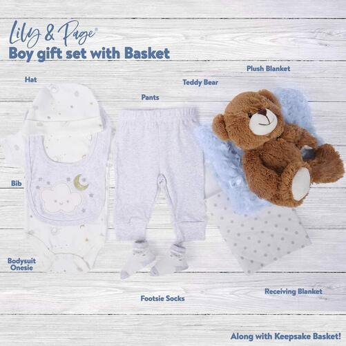 Lily and Page Ready for Gifting Baby Shower Gift Set with Basket