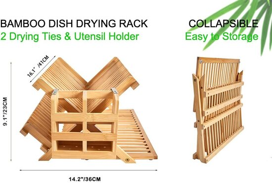 NOVAYEAH Foldable Bamboo 3 Tier Dish Drying Rack with Utensil Holder with Filter Holes