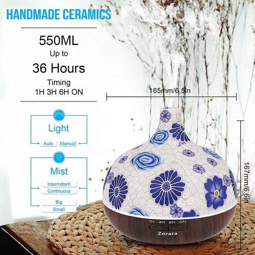 Zorara 550ml Glass Ultrasonic Aromatherapy Essential Oils Diffuser with Remote Control