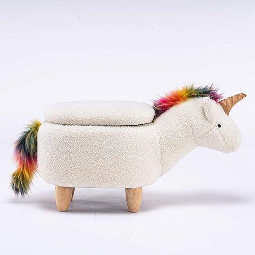 Home 2 Office Unicorn Animal Storage Ottoman Furniture for Kids Playroom Decoration