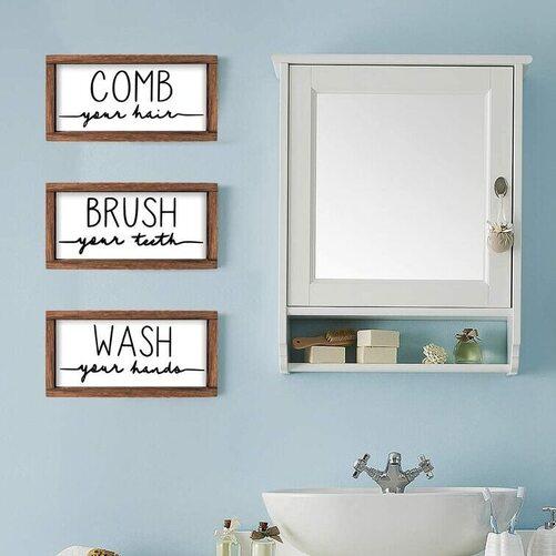 LIBWYS 3pcs Decorative Rustic Bathroom Sign and Plaque