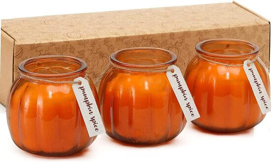 FUND AMLIGHT Natural Soy Wax pumpkin shaped jars candles for Fall, Thanksgiving and Halloween decorations