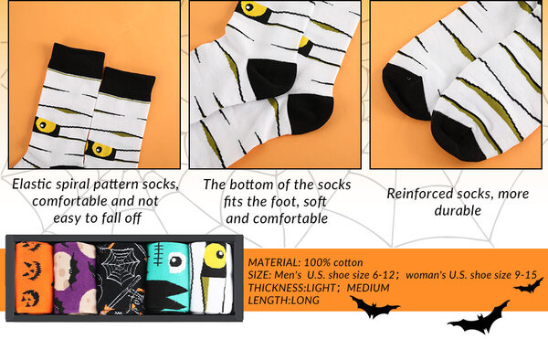 5 Pairs of Halloween Socks with Box