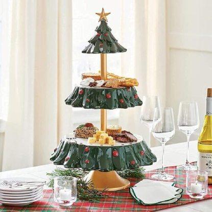 Hellosay Christmas Tree Shaped Snack-Dessert Serving Tray
