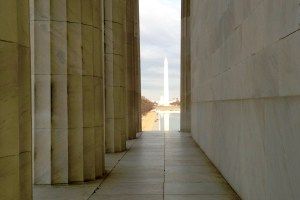 The Washington Memorial as seen from the Lincoln Memorial