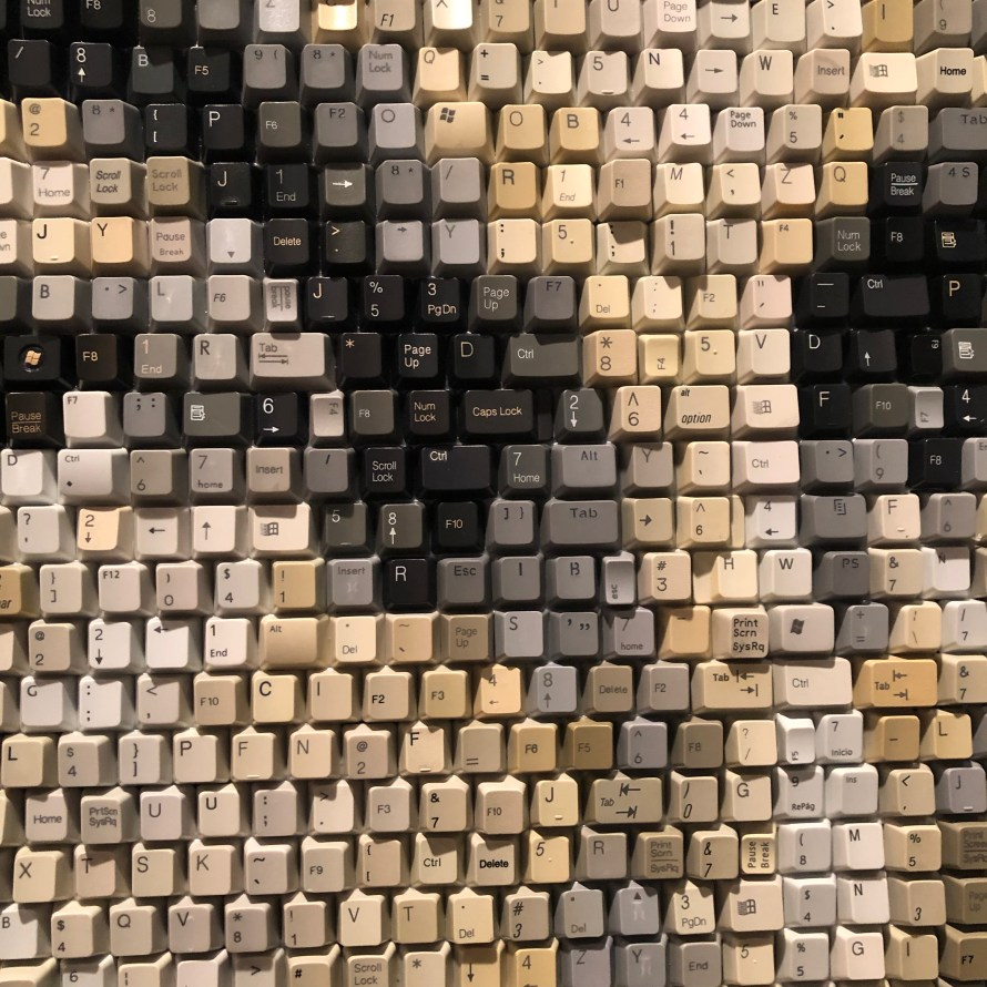 Art made from computer keys mosaic