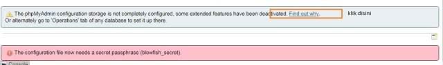 Database PHPMyAdmin Belum Dikonfigurasikan