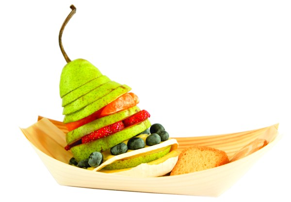 Bamboo food Boat with pear salad