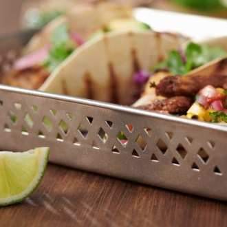 Vintage stainless steel Diner Basket with tacos