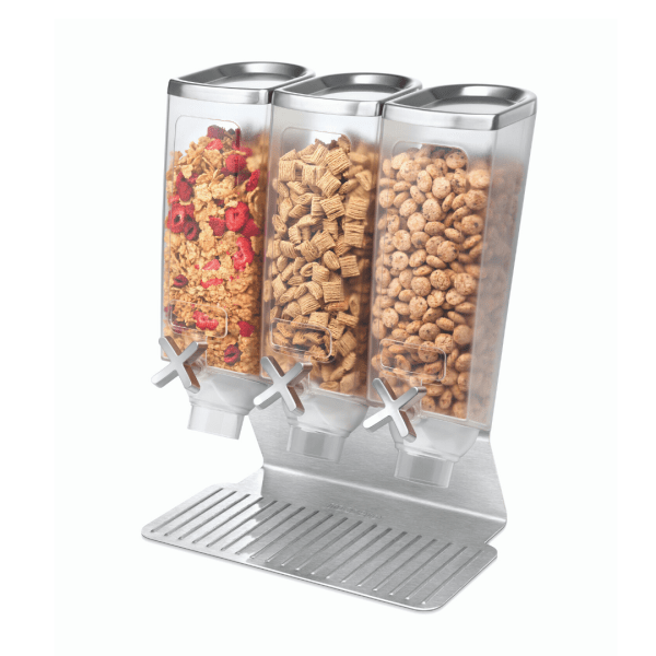 black triple container space saver bulk foods dispenser with stainless steel base