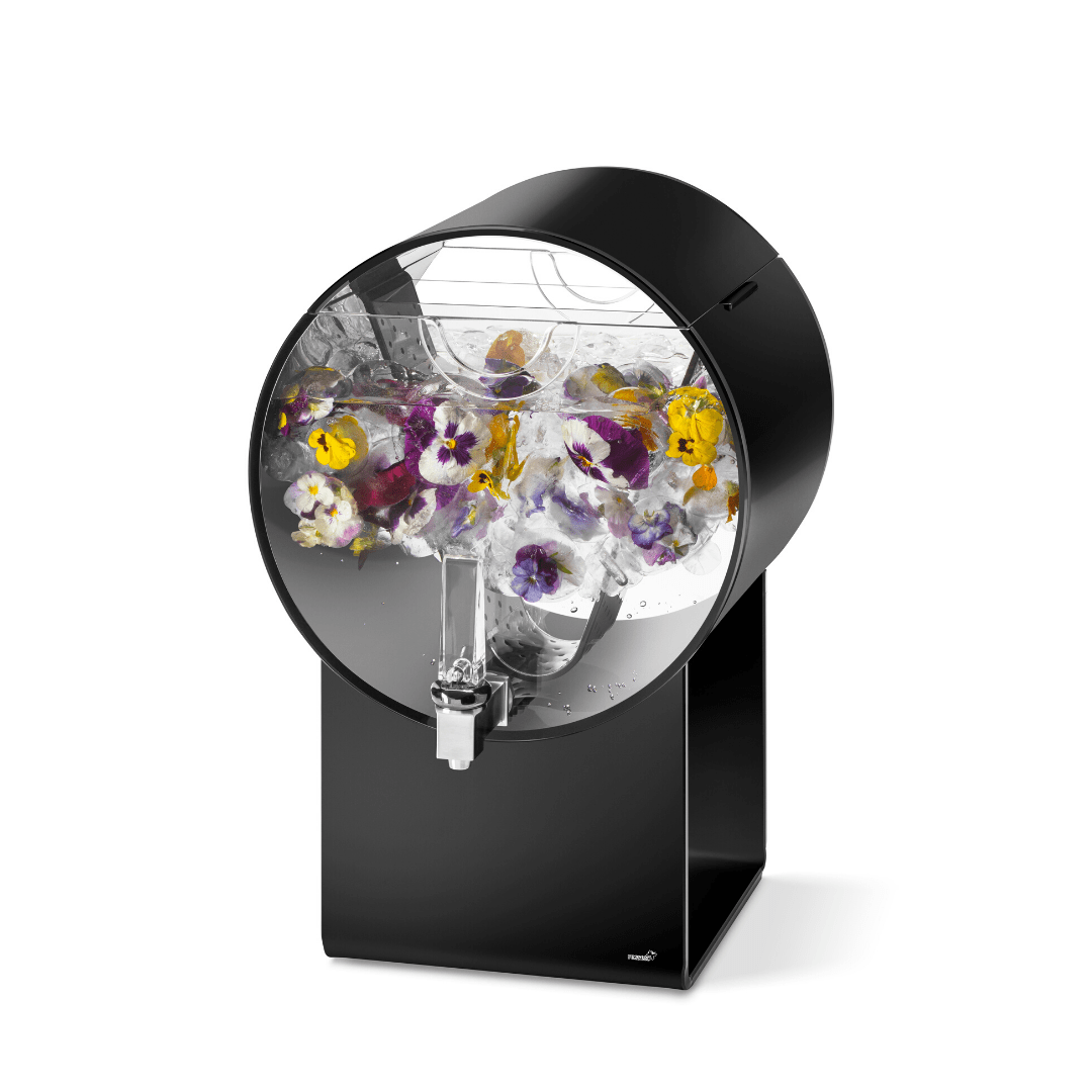 Barrel Black Infuser containing water with edible flowers