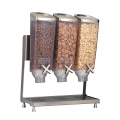 5 container bulk food dispenser with different breakfast cereals
