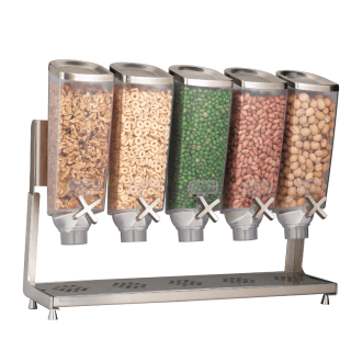 5 container bulk food dispenser with different snacks