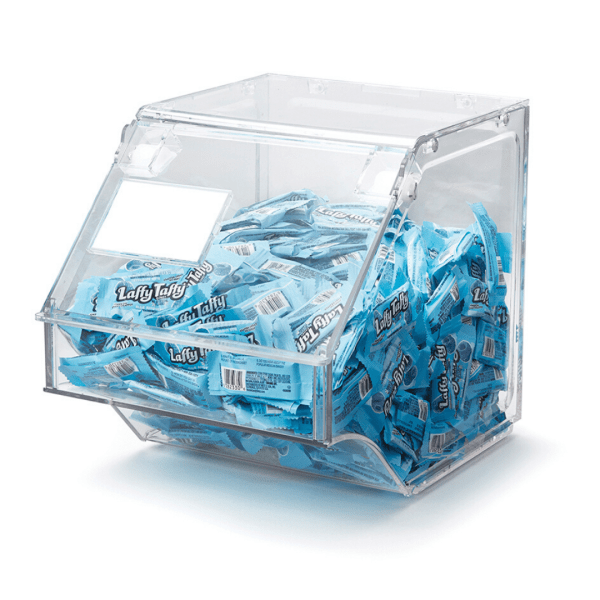 clear Scoop Bin With blue laffy taffy candy