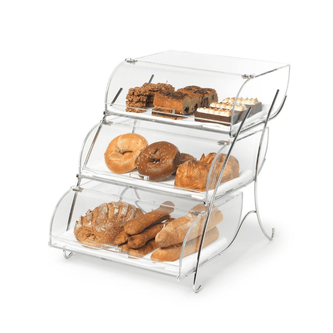 Bakery case three tier acrylic displaying various types of breads