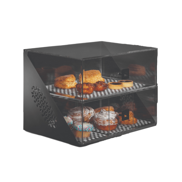 Bakery Case see through with Black matte steel base