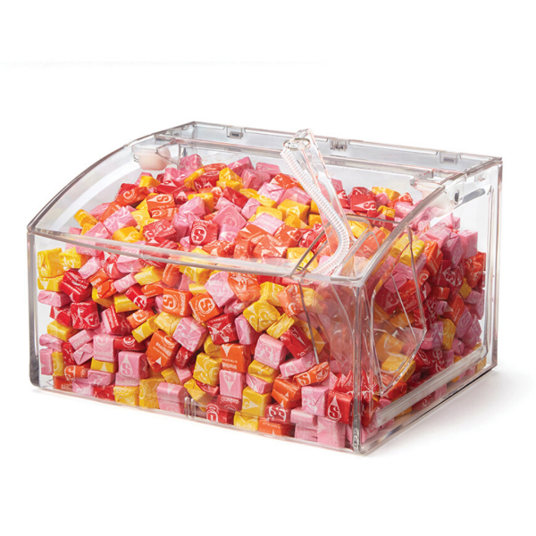 Clear Scoop Bin With Scoop and pink and yellow chewable candies