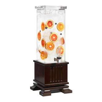 Classic Beverage Dispenser With Dark Wooden Base