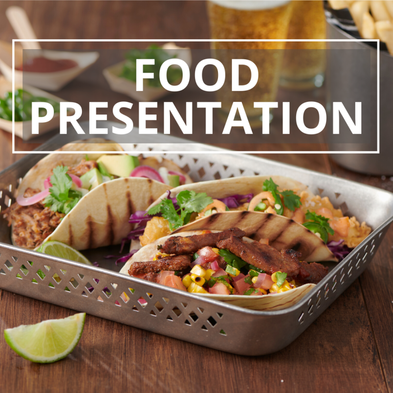 food presentation solutions tacos in a stainless steel deep tray
