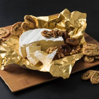Bamboo Resin Board Square with Gold Foil cheese and nuts